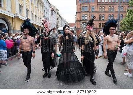 MUNICH, GERMANY - JULY 9, 2016: Christopher Street Day - a part of the parade in punk costumes