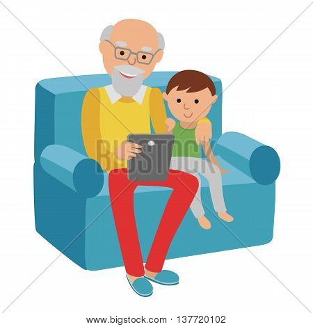 Happy senior man sitting on the sofa read book for his grandson and rest.