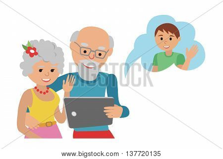 Family vector illustration flat style people faces online social media communications. Man woman parents grandparents with tablet phone. Content and humans connected via chat.