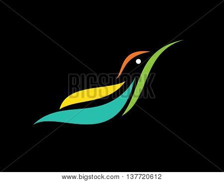 Vector image of an humming bird design on black background Vector Hummingbird for your desig.