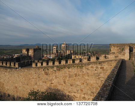Castle with crenellations in the old town of Trujillo, Spain