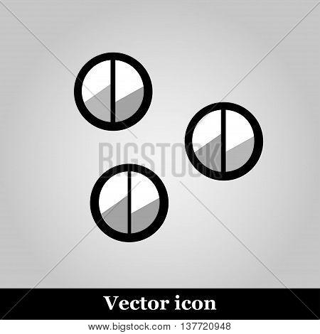 Set of 3 eye shadows isolated on grey background, vector illustration