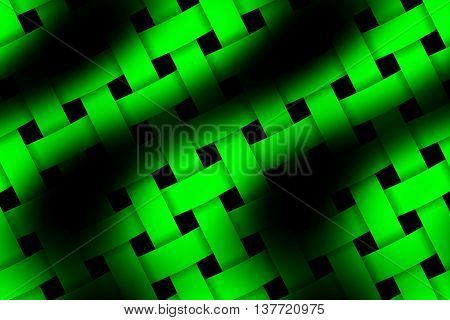 Illustration of green and black weaved pattern