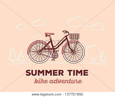 Vector illustration of retro pastel color moving fast bicycle with basket and text summer time on outdoor background. Bike adventure concept. Thin line art flat design of vintage bicycle riding on the bicycle and cycling theme