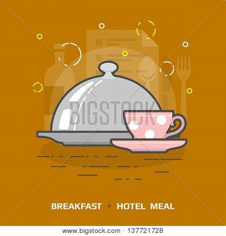 Flat illustration of cloche for meal against brown background. Flat design of breakfast under dome, front view. Vector image about hotel meal, restaurant, breakfast in bed, tableware, catering, etc