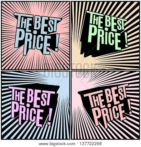 Best Price, wording in shaded comics background. Sale banner. Comics design sale discount promotion. Comics pop art style.