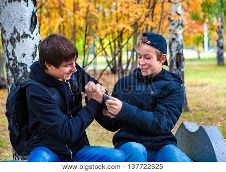 Cheerful Boys Fight for Tablet Computer in the Autumn Park