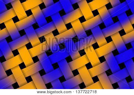 Illustration of dark blue and orange weaved pattern