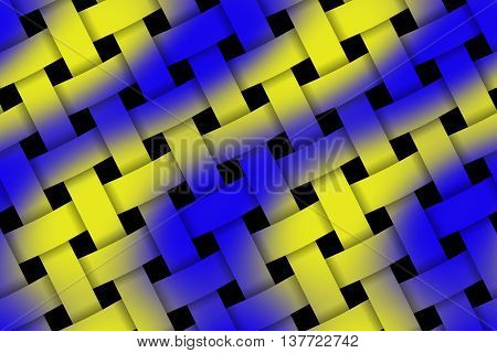 Illustration of dark blue and yellow weaved pattern