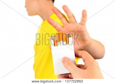 Teenager refuses Cigarettes Isolated on the White Background