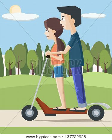 girl and boy on electric scooter at the city - colorful cartoon vector illustration