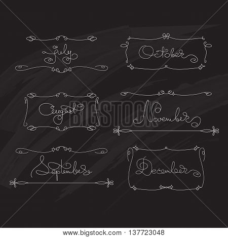 Vector set  handwritten calligraphy words  July, August, September, October, November, December and decorative frames.  Black and white lettering for typography greeting, invitation card, calendars and organizers.