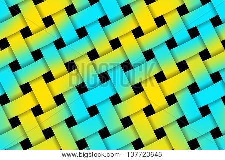 Illustration of yellow and cyan weaved pattern