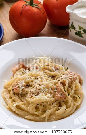 Spaghetti Carbonara On Wooden Table