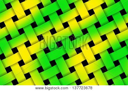 Illustration of green and yellow weaved pattern