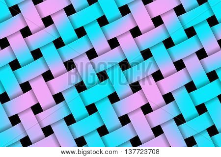 Illustration of pink and cyan weaved pattern