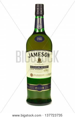 READING MOLDOVA APRIL 7 2016. Jameson whiskey isolated on white background. Jameson is blended Irish whiskey produced by the Irish Distillers subsidiary of Pernod Ricard since 1780.