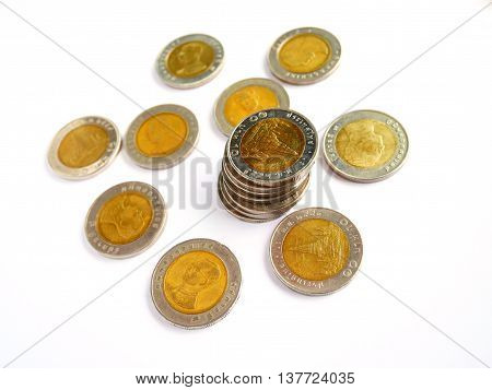 10 baht thai coin isolated on white background with selective focus
