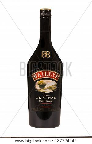 READING MOLDOVA APRIL 7 2016: Baileys Irish Cream is an Irish whiskey- and cream-based liqueur made by Gilbeys of Ireland. Brand currently owned by Diageo.