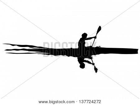 Athletes whit kayak on white background
