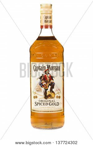 READING MOLDOVA APRIL 7 2016. Captain Morgan is a brand of rum produced by alcohol conglomerate Diageo. Captain Morgan is by volume the second largest brand of spirits in the United States