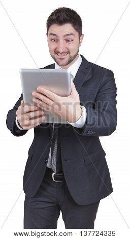 Surprised Businessman Holding Tablet