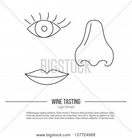 Human nose, eye and lips. Single logo in modern thin line style isolated on white background. Outline winery symbol. Simple mono linear pictogram. Stroke vector logotype template.