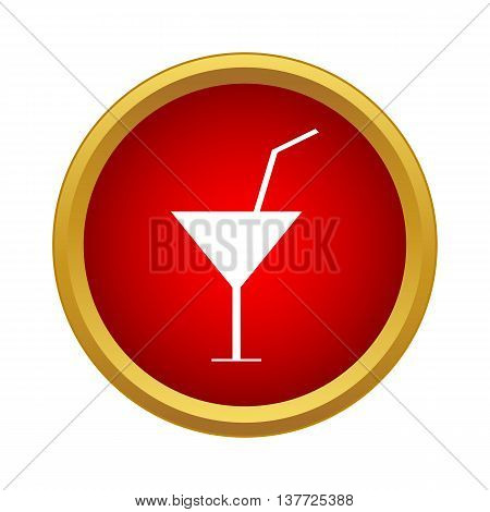 Martini glass with cocktail icon in simple style on a white background