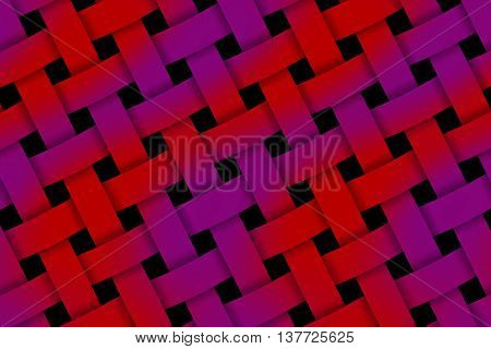 Illustration of red and purple weaved pattern