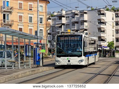 Zurich, Switzerland - 9 July, 2016: a VBG bus in the Oerlikon district of the city. VBG is the main bus operator for the northern suburbs of Zurich such as Glattal, Furttal, Effretikon, Wallisellen and Volketswil.