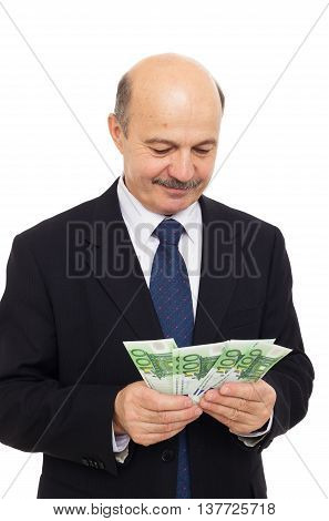Elderly Man Counts Money