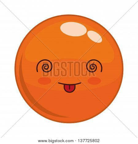Cartoon design represented by kawaii expression face icon. Colorfull and isolated illustration. Orange sphere