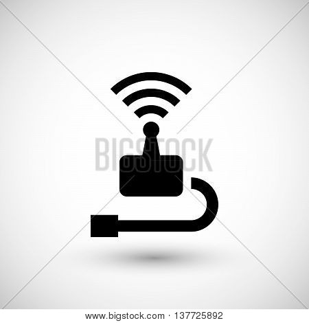Wireless transmitter icon isolated on grey. Vector illustration