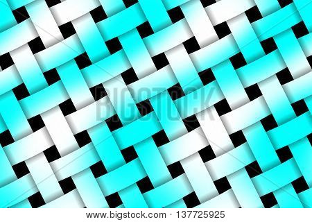 Illustration of cyan and white weaved pattern