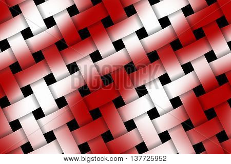 Illustration of red and white weaved pattern