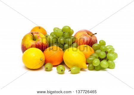 fresh juicy fruits isolated on white background. horizontal photo.