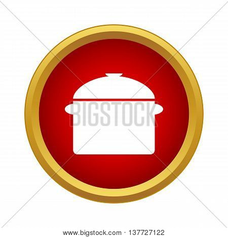 Saucepan with lid icon in simple style on a white background