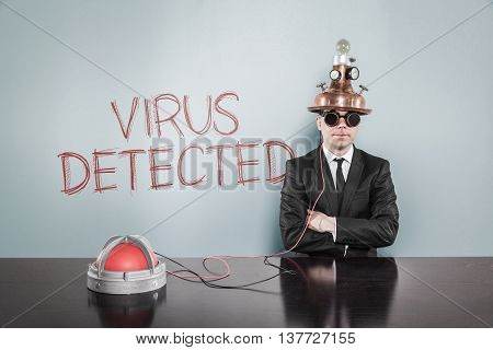 Virus detected concept with vintage businessman and alert light