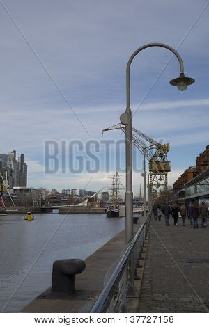Buenos Aires, Argentina - July 08, 2016: Puerto Madero Neighborhood, Buenos Aires Cityscape, Argenti