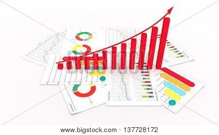Graphs of financial analysis business market success invest isolated 3d illustration