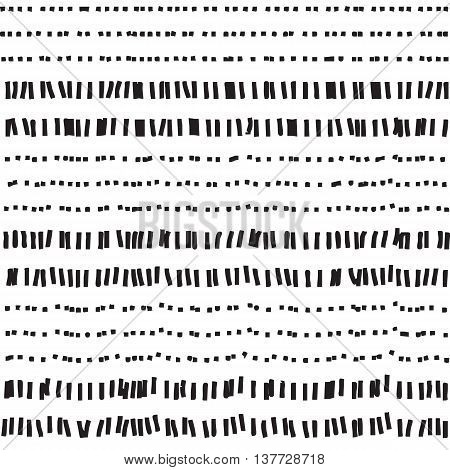 Dotted and dashed seamless pattern. Abstract seamless texture in black and white colors. Vector illustration in EPS8 format pattern swatch include.