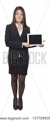 middle-aged businesswoman with dark tailleur showing tablet