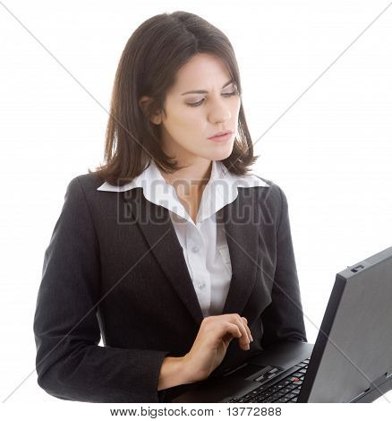 Woman Working On Laptop Isolated White Background
