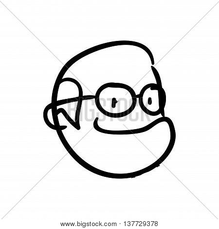 old people and cartoon concept represented by grandfather icon. Isolated and sketch illustration