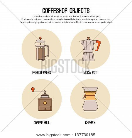 Vector design template with thin line icons of coffeeshop. Flat design graphic.