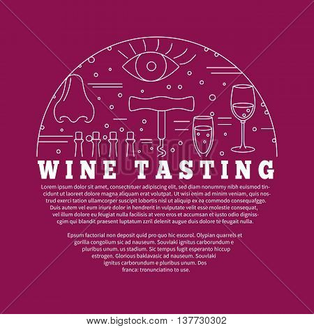 Winemaking, wine tasting flyer, poster with winery symbols in circle with place for your text. Vector template with winery graphic design elements in mono line style isolated on red background.