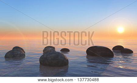 Sea Stone Sunset View