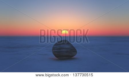 Sunset With Stone