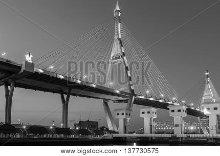 Black and White, Highway intersection connect to suspension bridge, river front, Bangkok Thailand