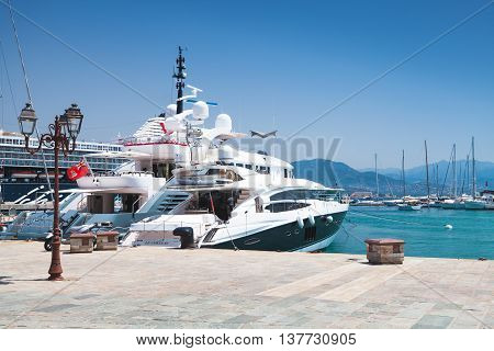 Luxury Pleasure Yachts Moored In Port